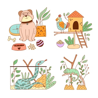 Different cute pets and their habitat