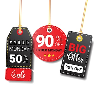Different cyber monday sale tags or labels set isolated