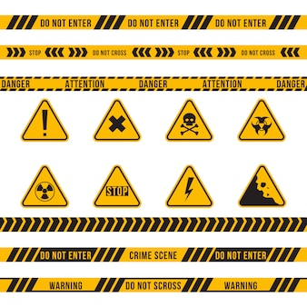 Different danger ribbon and sign flat set