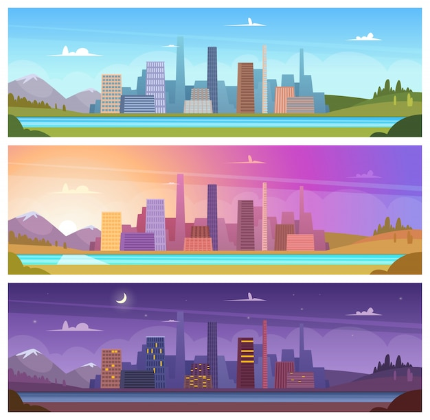 Different day time. night morning night day outdoor city landscape cartoon backgrounds