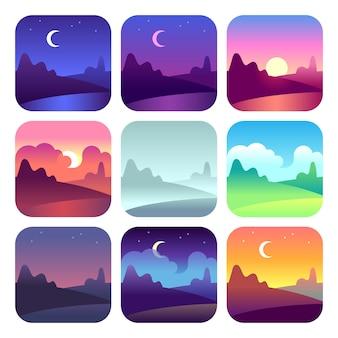 다른 시간대. 이른 아침 일출과 일몰, 정오와 황혼의 밤. 태양 시간 시골 풍경 벡터 아이콘