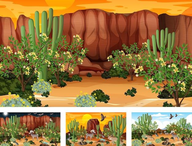 동물과 식물이있는 다른 사막 숲 풍경 장면