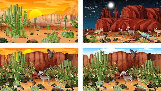 동물과 식물이 있는 다른 사막 숲 풍경 장면