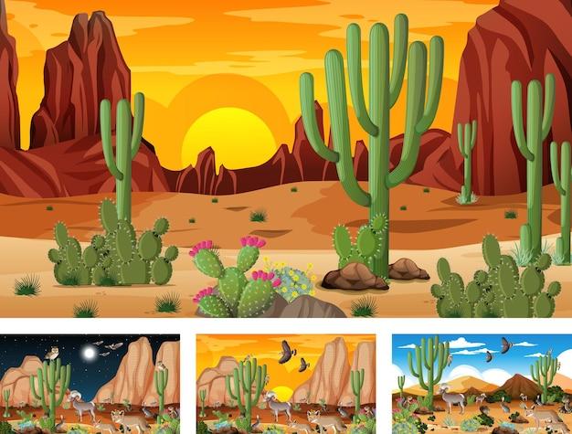 動物や植物とのさまざまな砂漠の森の風景のシーン