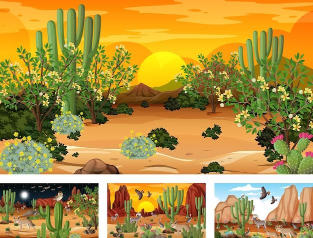 Различные сцены пейзажа пустынного леса с животными и растениями