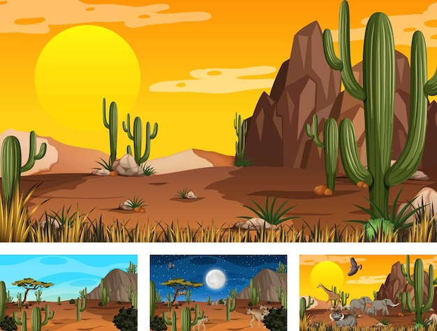 Diverse scene di paesaggi della foresta del deserto con animali e piante Vettore gratuito