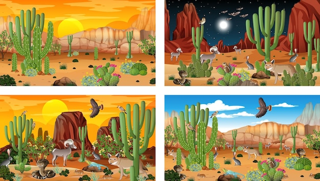 Different desert forest landscape scenes with animals and plants