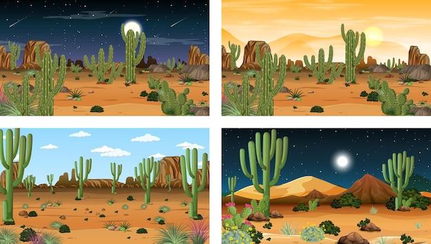 Different desert forest landscape scenes with various desert plants