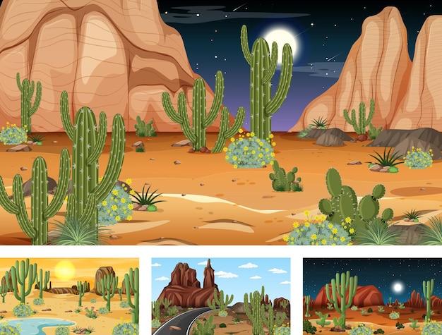 다양한 사막 식물이 있는 다양한 사막 숲 풍경