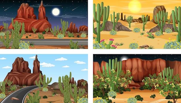 동물과 식물이있는 다양한 사막 숲 장면