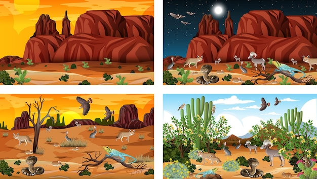 Различные сцены пустынного леса с животными и растениями