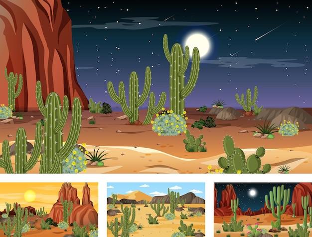 動物や植物とのさまざまな砂漠の森のシーン