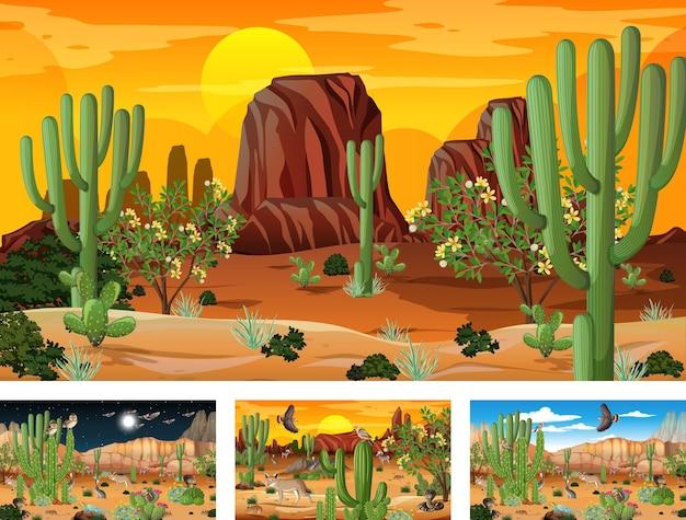 동물과 식물이 있는 다른 사막 숲 장면