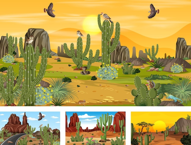 Different desert forest scenes with animals and plants