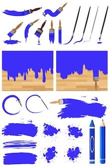 Различный дизайн акварельной живописи синим цветом на белом фоне