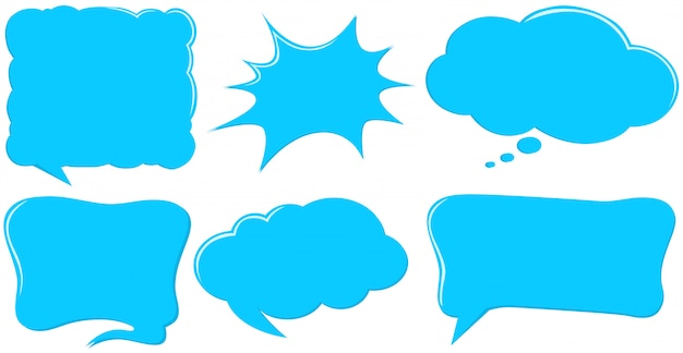 Different design of speech bubble templates in blue