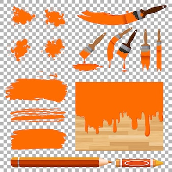 Different design of watercolor painting in orange on white background
