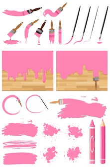 Different design of watercolor painting in pink on white background