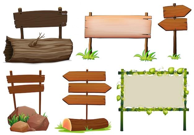 Disegno diverso di segni di legno segno
