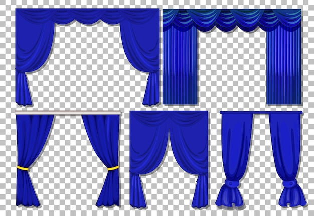 Different designs of blue curtains isolated