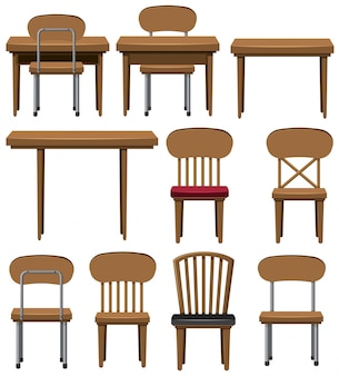 Different designs of chairs and tables