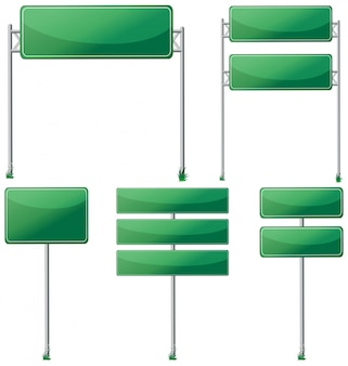 Different designs of green signs