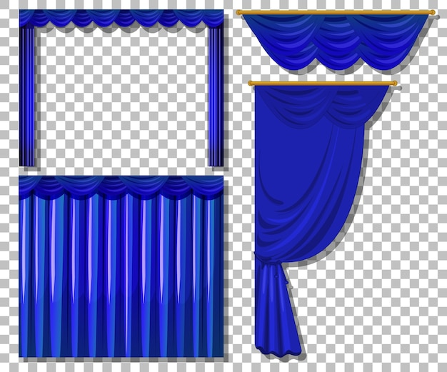 分離された青いカーテンのさまざまなデザイン
