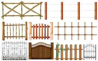 Different designs of fence illustration
