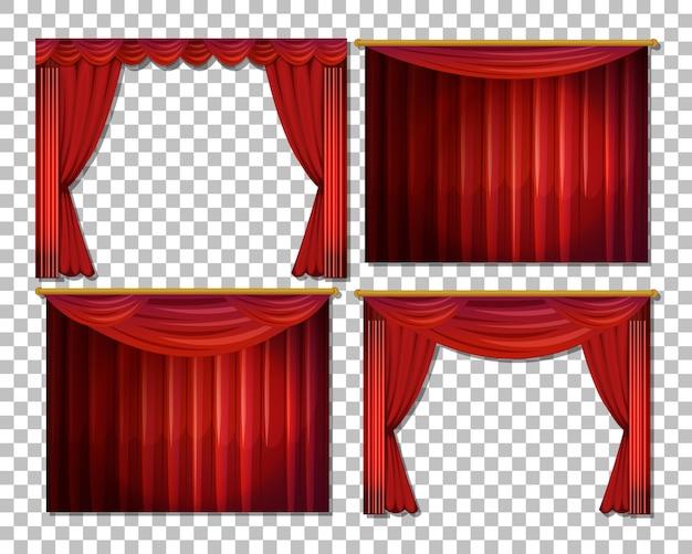 分離された赤いカーテンのさまざまなデザイン