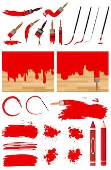 Различные узоры акварельной живописи в красном с разными мазками