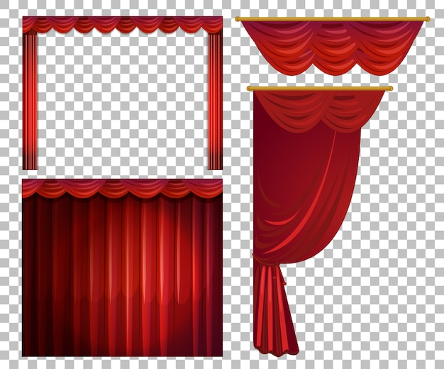Different designs of red curtains isolated