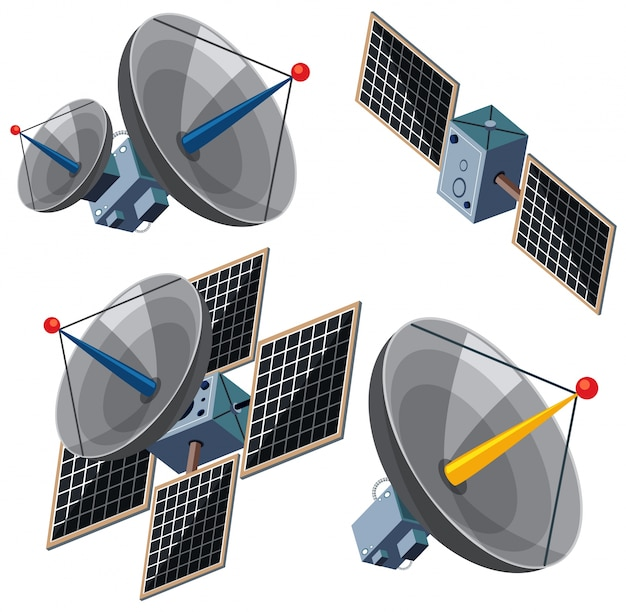 Different designs of satellites
