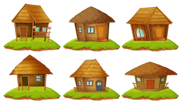 Different designs of wooden cottages