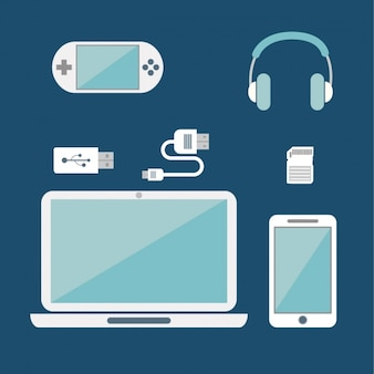Different devices on a blue background