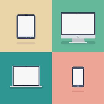 Иллюстрация различных устройств в плоском стиле