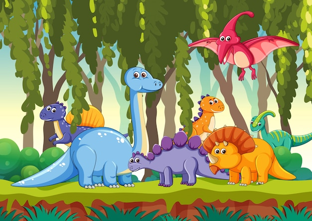 Different dinosaur in forest