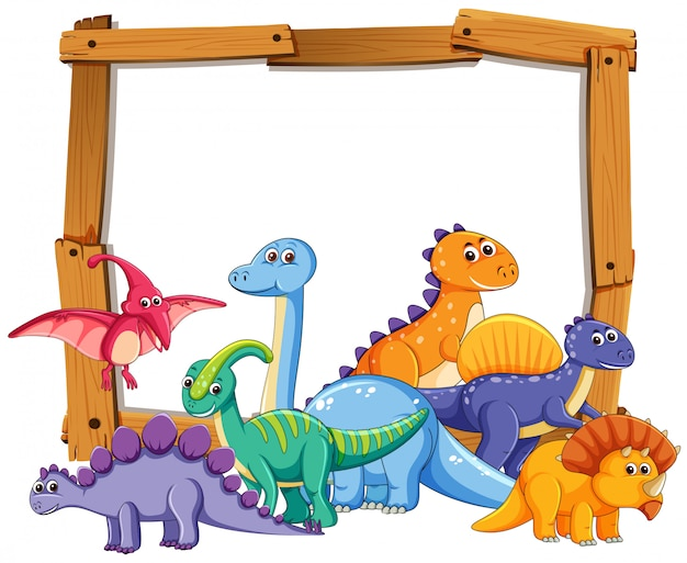 Different dinosaur on wooden frame