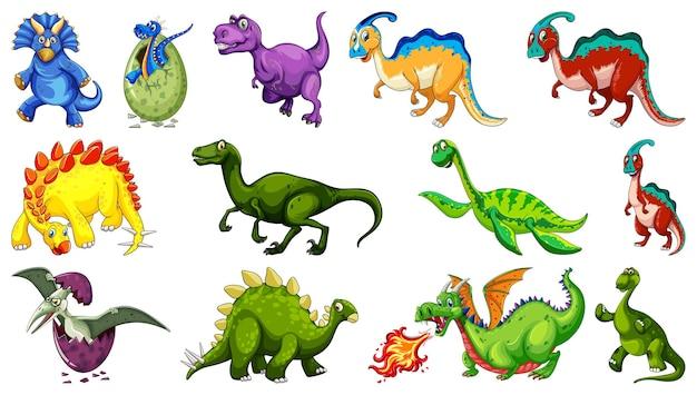 Различные динозавры мультипликационный персонаж и фэнтезийные драконы изолированы