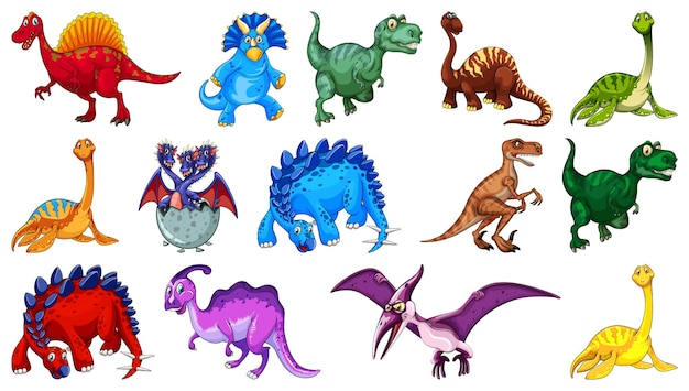 Different dinosaurs cartoon character and fantasy dragons isolated