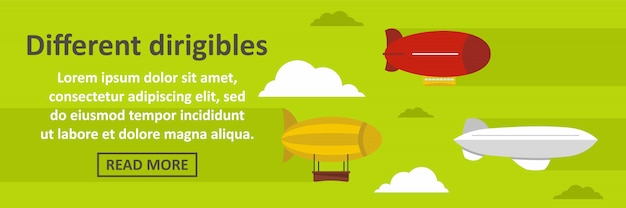 Different dirigibles banner template horizontal concept