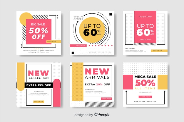 Different discounts colorful abstract sale instagram post collection
