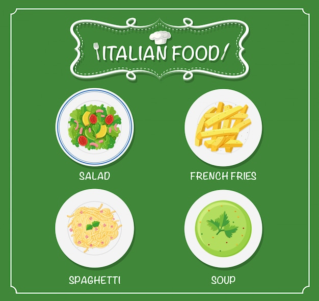 Different dishes on italian menu