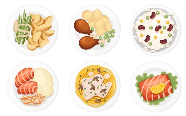 На тарелках разная посуда. традиционные блюда со всего мира. иконки для логотипов меню и этикеток. плоский рисунок, изолированные на белом фоне.