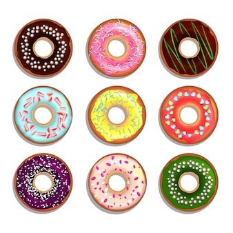 Different donuts in cartoon style.