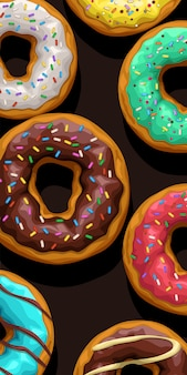 Различные пончики, лежащие на черном