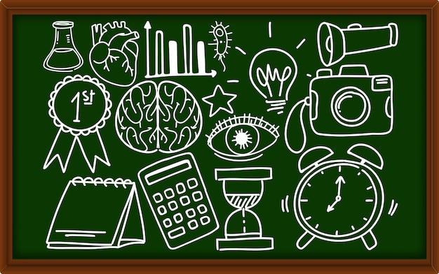 Различные каракули штрихи о школьном оборудовании на доске