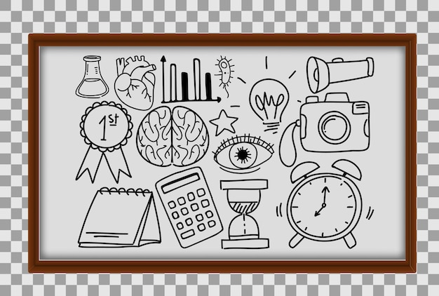 Different doodle strokes about school equipment in wooden frame on transparent background