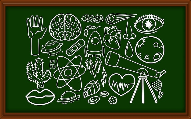 Different doodle strokes about science equipment on chalkboard