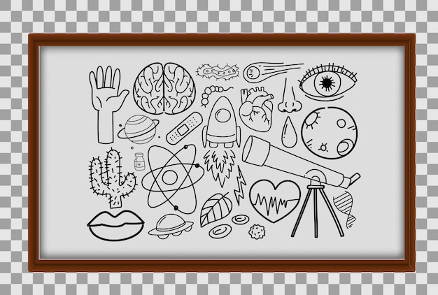 Different doodle strokes about science equipment in wooden frame on transparent background