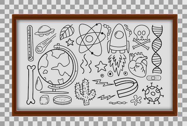 Different doodle strokes about science equipments in wooden frame on transparent background